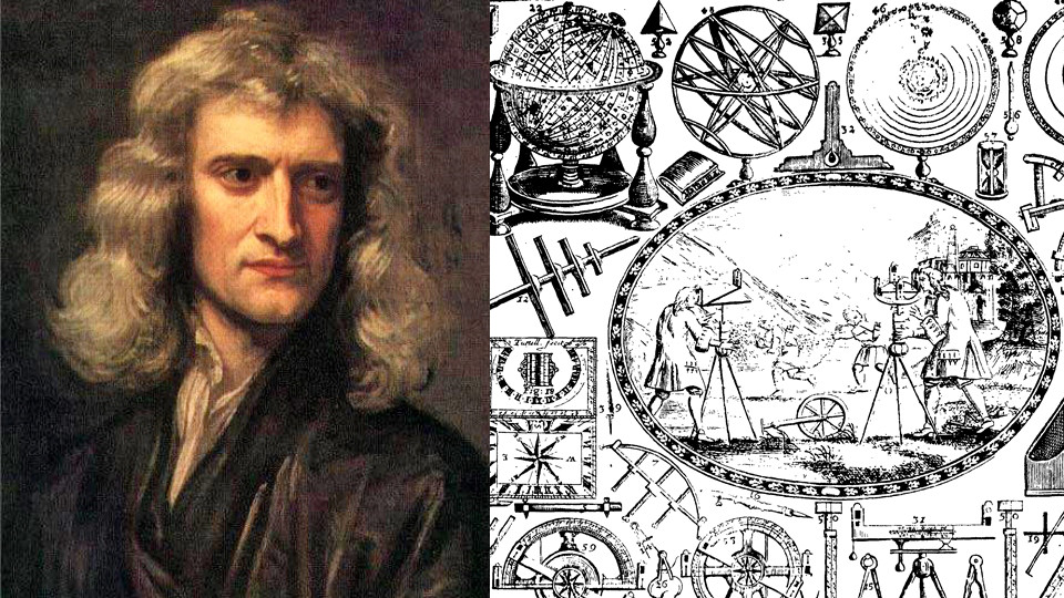 Isaac Newton and the cover of a book by Raphson
